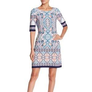 Eliza J Blue/Coral Elbow Sleeve Print Shift Dress
